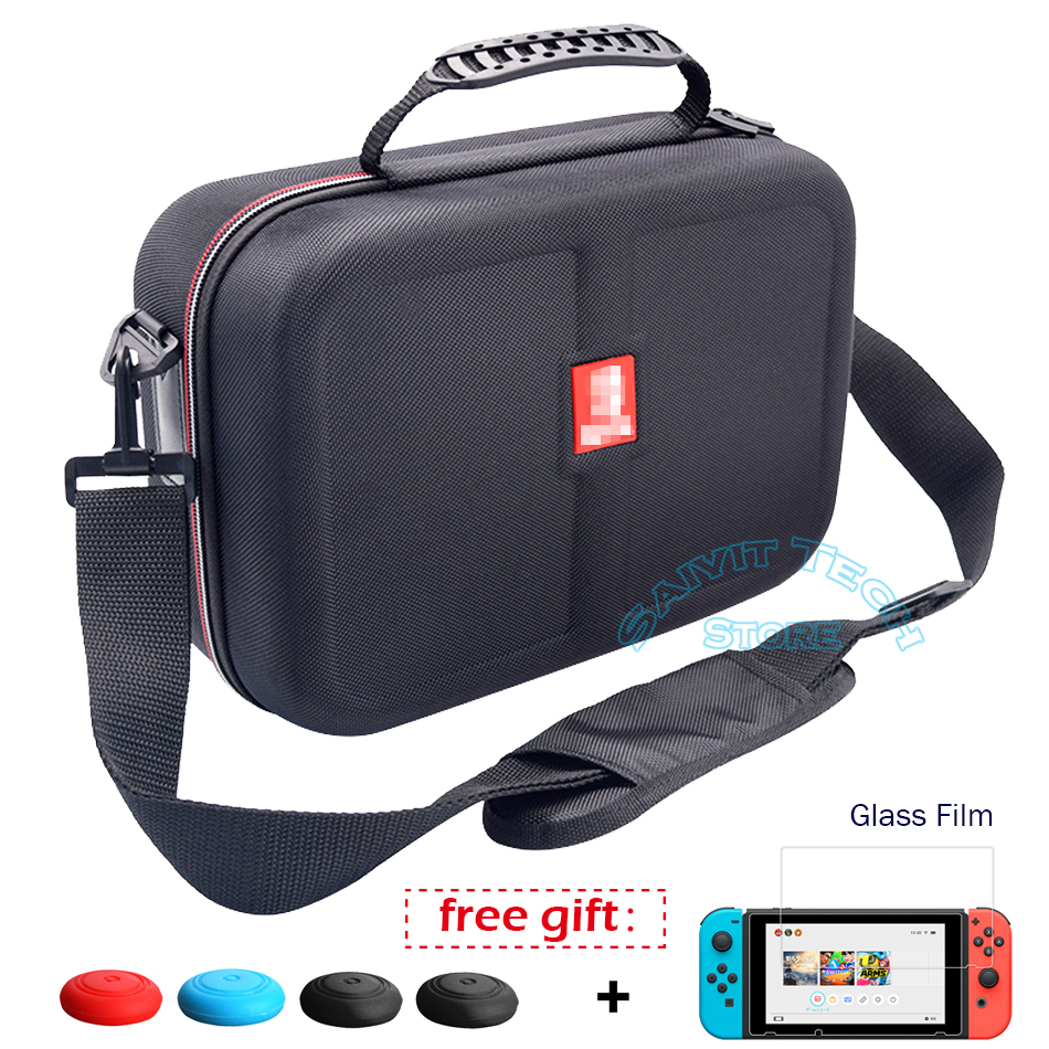 For Nintendoswitch Accessories Big Storage Carrying Bag NS EVA Travel Hard Case Cover&Tempered Film for Nintendo Switch Game