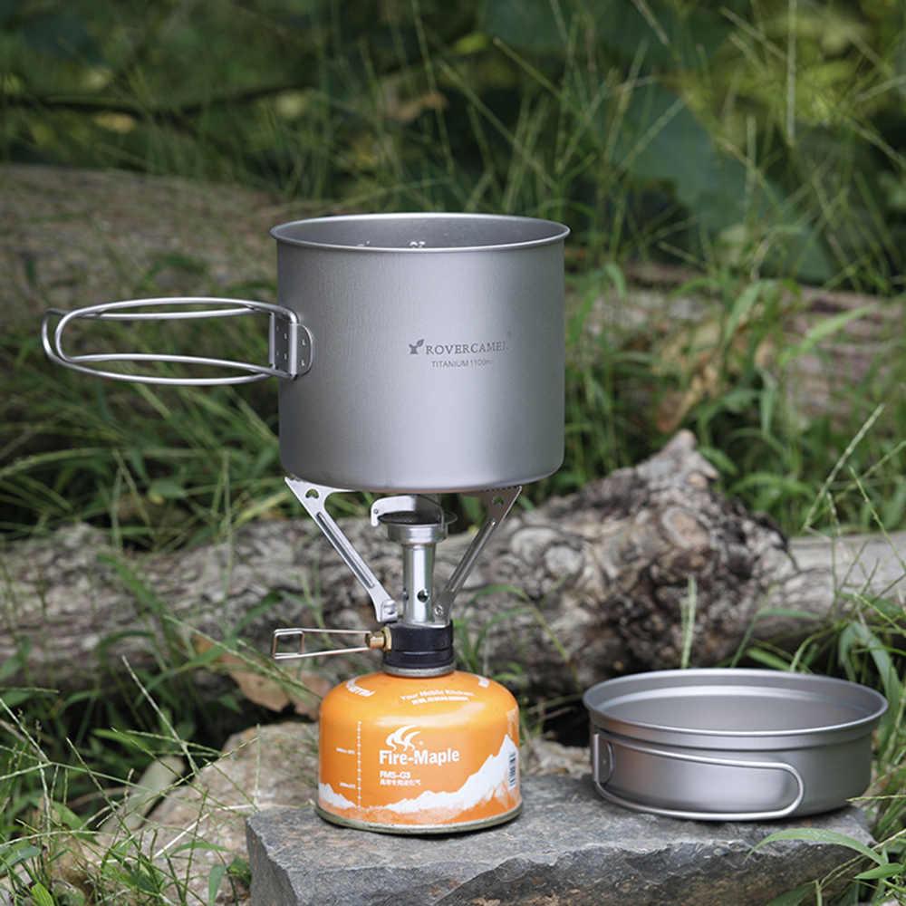 超軽量チタン調理セット屋外のキャンプ調理器具セット 1100 ミリリットルポット 350 ミリリットルフライパンピクニック調理器具食器折りたたみハンドル