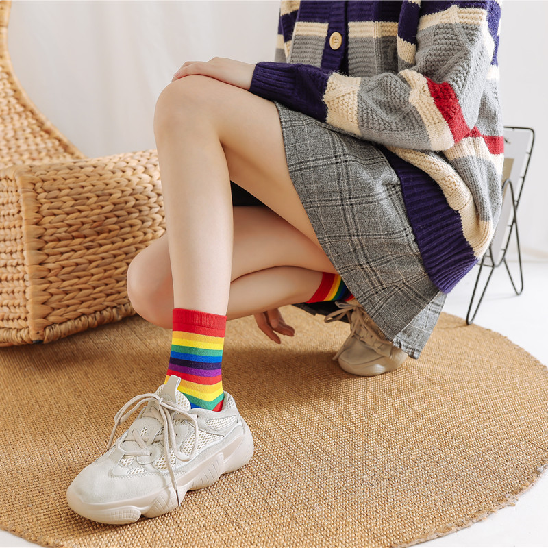 Japanese Rainbow Socks Korean Color Striped Female Cotton Socks Cute Girl Student Socks Wholesale