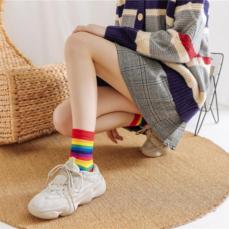 Japanese Rainbow Socks Korean Color Striped Female Cotton Socks Cute Girl Student Socks Wholesale