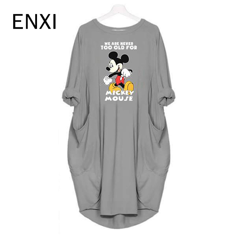 ENXI Mickey Mouse Maternity Dresses Cartoon Printing Round Neck Vestido Summer Autumn Korean Fashion Long Sleeve Pregnancy Dress