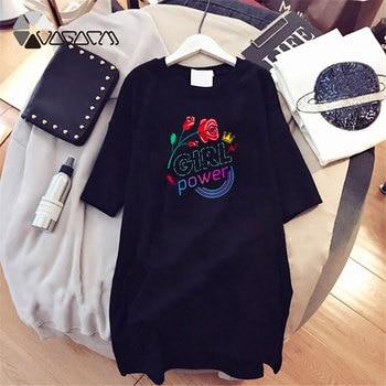 Women Dresses NEVER Series Letter Plus Size Black Mini Dress Loose Summer Long T Shirt Casual Clothes Femme Tops White Sukienka 180