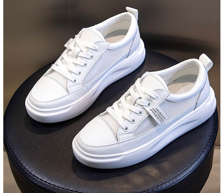Big Size Women Sneakers Autumn Leather Light White Sneaker Female Platform Vulcanized Shoes Spring Casual Breathable Sports Shoe