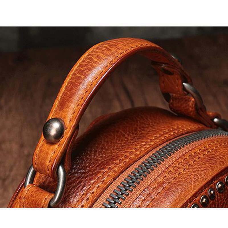 BJYL The first layer of leather handbags new leather rivet pouch retro bills shoulder slung small round bag female - 4