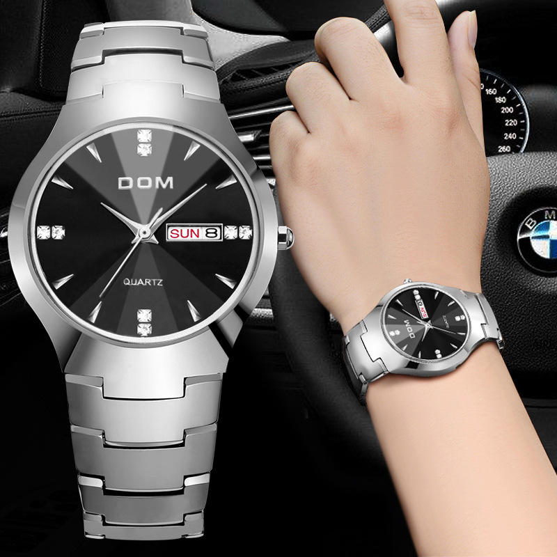 DOM (Dom) Watch Fashion Coatings Mirror Tungsten Steel Waterproof Quartz Watch w-698- 1M2