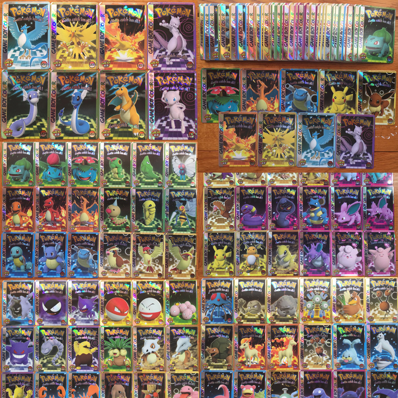 50PCS/set Random Pokemon Card Glare Flash Cards Pikachu Charizard Mewtwo Eevee Psyduck Collection Card Kids Toy Gift