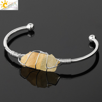 CSJA Natural Stone Bangle Gold-color Wire Wrap Irregular Crystal Quartz Cuff Copper Bracelets for Women Girls Kids Jewelry G327 11