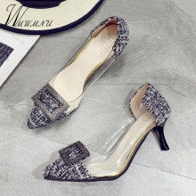Elegant Pink Rhinestone Clear Pumps Sexy Stiletto Kitten Heels PVC Party High Heels Women Wedding Shoes Pointed Toe Sandals New rhinestone decorated stiletto heels