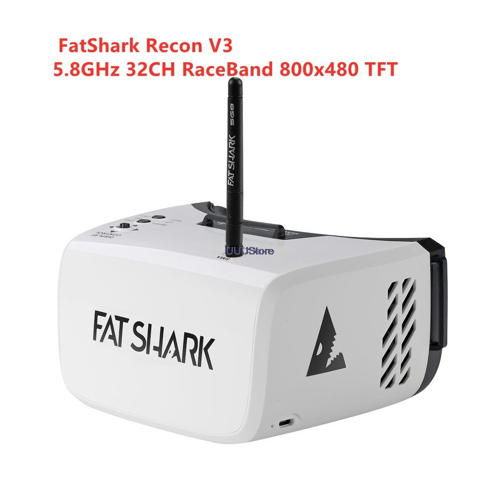 Hotsale FatShark Recon V3 5.8GHz 32CH RaceBand 16:9 4.3 Inch 55Degree 800x480 TFT Display FPV Goggles Video Headset With Battery