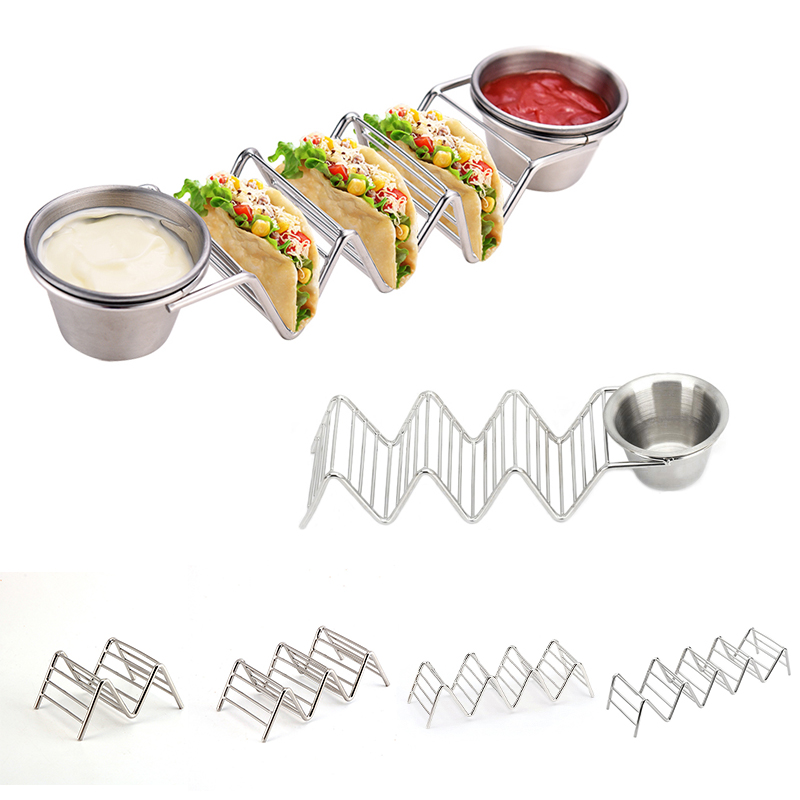 5 Size Wave Shape Stainless Steel Taco Holders Mexican Food Rack Hard Shells Hot Dog Holder Stand Rack Display Seasoning Bowl