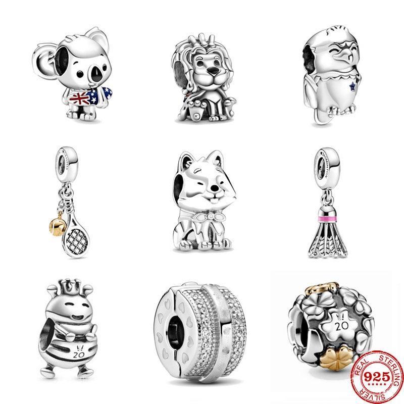 Summer New 925 Sterling Silver Surfing Koala Union Jack Lion Badmin Charm  Fit Original Pandora Charm Bracelet 2020 Jewelry Gift