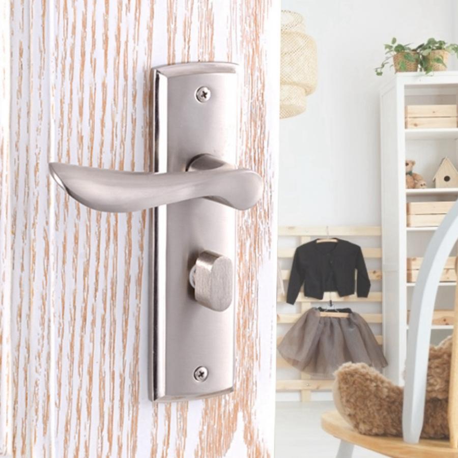 Door Handle Lock Aluminium Alloy Interior Security Durable Bedroom Toilet cerradura puerta
