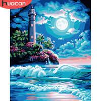 HUACAN Färbung Durch Zahlen Leuchtturm Landschaft Kunst DIY Ölgemälde Durch Zahlen Bilder Landschaft Leinwand Malerei Wohnzimmer
