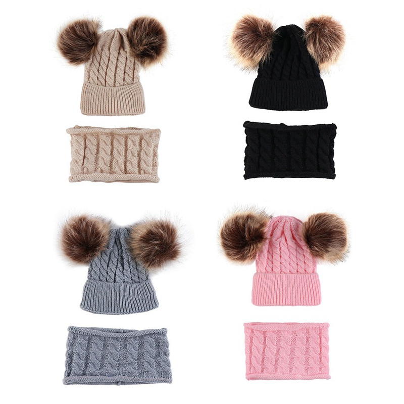 Caps Hats Winter Warm 2pcs/Set Baby Suits Scarf Machine-Cap Ear-Bonnet Pom Protects Knitted