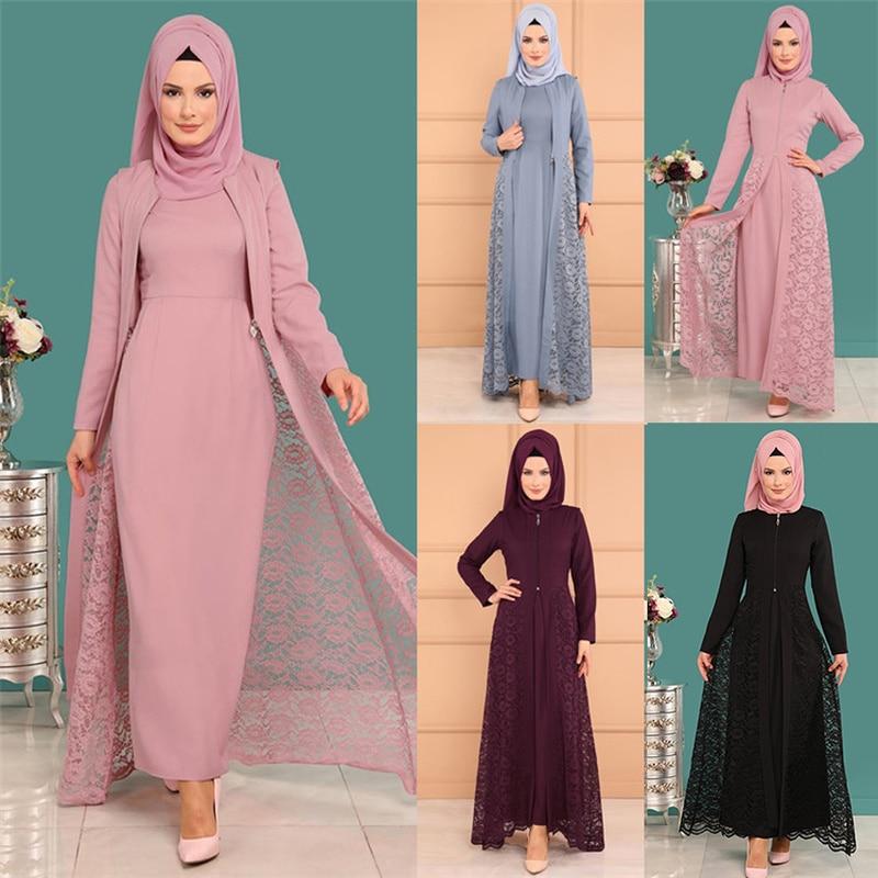 Two piece Sets Muslim Abaya Dress and Outwear Women Lace Slim Fit Long Sleeve Kimono Caftan