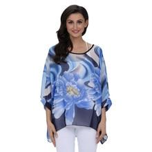 32 styles Fashion Woman Batwing Sleeve Chiffon Flower Shirt Bohemian Oversized smock Blouse YF351