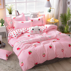 Cartoon strawberry bed linens home Textile bedding sets cute duvet cover set bed sheets quilt cover Aloe Cotton single king zise