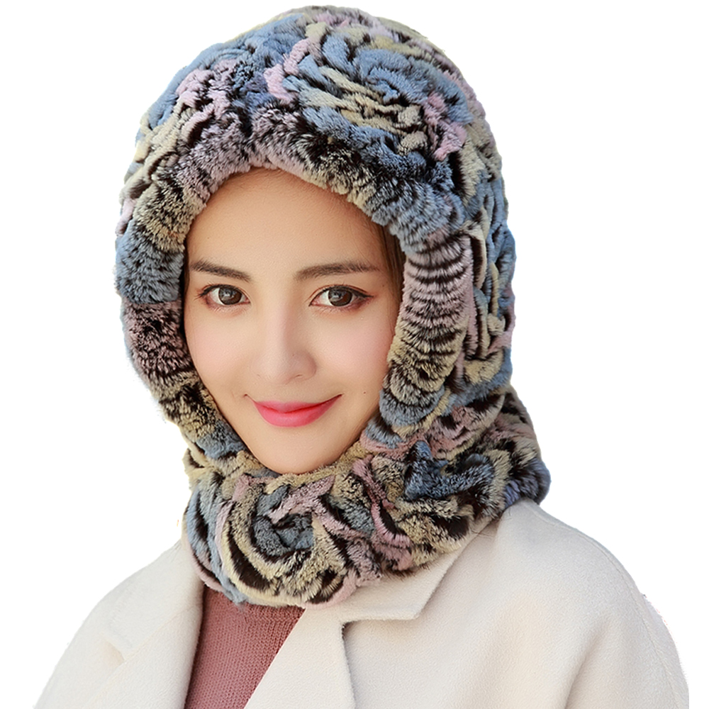 Women One-Pieces Hats And Scarf Real Rex Rabbit Fur Cap Winter Warm Neckerchiefs Handmade Fluffy Soft  3Colors