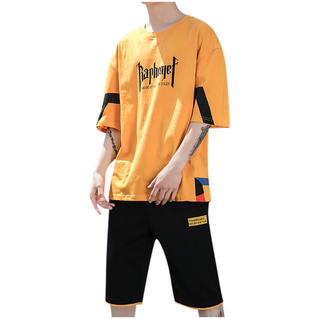 2020 Fashion Men Letter Printing T-shirt Short Sleeve Tops Pocket Shorts Casual Set Men's T-shirts Oversized t shirt Harajuku F1