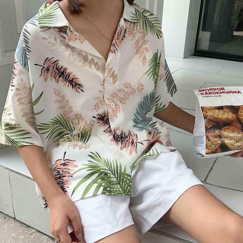 Свободная Гавайская ветровка женская летняя Свободная блуза с v-образным вырезом и принтом Гавайи с короткими рукавами и лацканами
