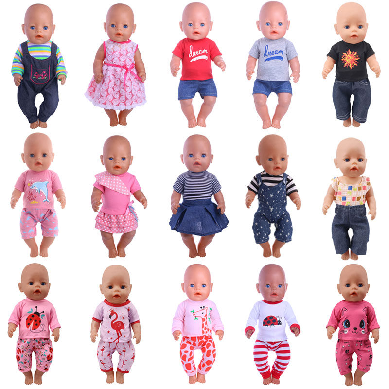15 Styles Pattern T-Shirt + Pants&Dress For 18 Inch American&43 Cm Doll Clothes Born Baby Our Generation Christmas Gift