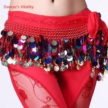 Danza del vientre, cinturón trajes borla de lentejuelas vientre bailar pañuelo de la cadera para las mujeres danza del vientre cinturones indio colores cinturón