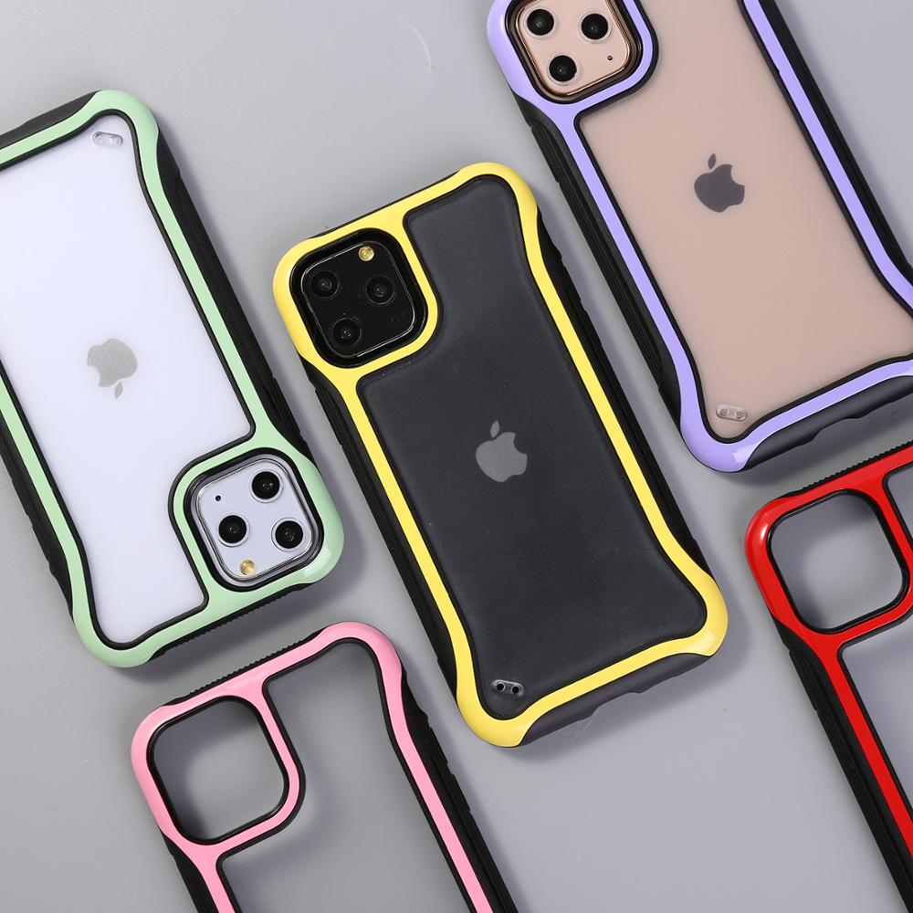 Shockproof Soft TPU+PC Phone Case For iPhone 11 Pro Max 6 6S 7 8 Plus X XR XS Max Transparent Frosted Cases Silicone Cover Capa(China)