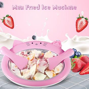 Cartoon Mini maszyna do lodów smażona maszyna do jogurtu lato fajne lody ekspres do lodów Roller urządzenie do zwijania dla dzieci dzieci tanie i dobre opinie becornce 10 w 500 ml CN (pochodzenie)