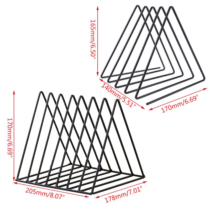 Iron LP Record Rack Triangle Book Magzine Holder Desk Record Storage Organizer 6
