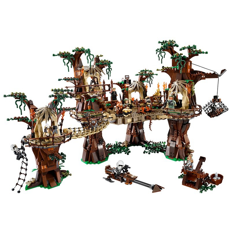 <font><b>05047</b></font> Star Wars Star Plan Wars Ewok Village 1990Pcs Model Building Kit Block Bricks Compatible with Movie 10236 Christmas gifts image