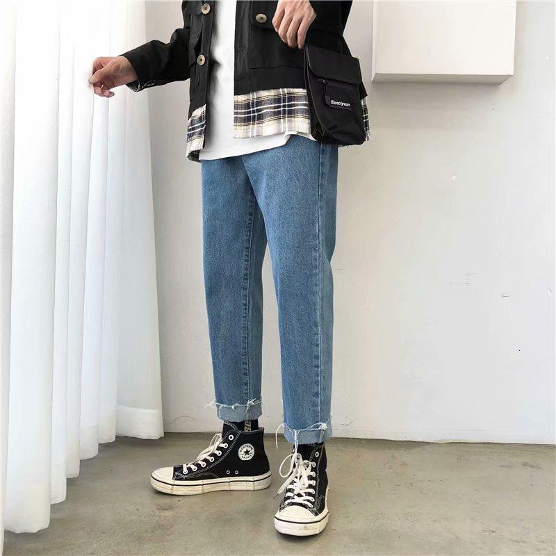 Осенние джинсы, мужские тонкие, модные, вареные, одноцветные, повседневные, джинсовые штаны, Мужская Уличная одежда, дикие, хип-хоп