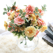 European Style Artificial Flower Bouquet New Silk Rose Fake Flowers Wedding Home Party Decoration Wall