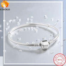Sent Certificate! Original 925 Solid Silver Charm Bracelets for Women Long Snake Chain Bone Br...