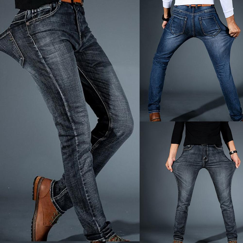 Jeans For Men Slim Pants Classic  Jeans Male Trousers Casual Skinny Straight Elasticity Pants