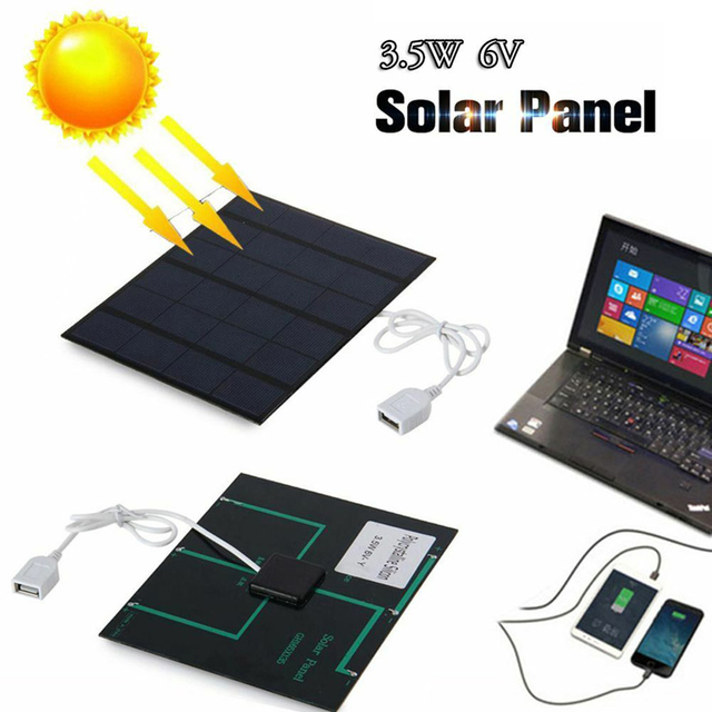 Newest Solar Panel System Charger 3.5W 6V Charging for Mobile Phone Power Bank Camping garden decoration 3