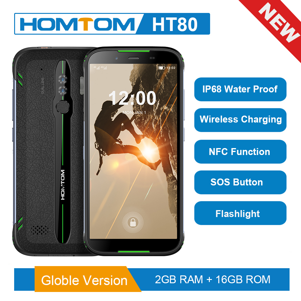 Global Version HOMTOM HT80 NFC Function IP68 Waterproof Smartphone Android 9.0 5.5inch Wireless Charge SOS Mobile Phone New 2019