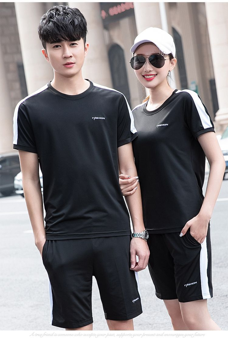 Summer New Style Couples Men And Women Casual Sports Running Fitness Suit Short Sleeve Shorts Groups Outdoor Sports Clothes