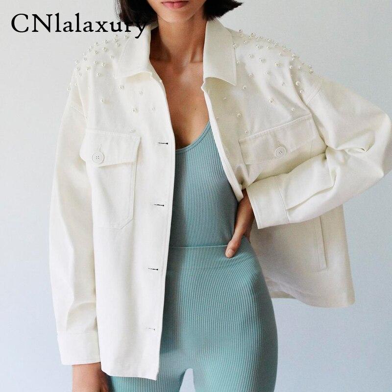 Джинсовая куртка женская 2020 Модная Джинсовая куртка с бисером и жемчугом винтажная женская верхняя одежда с длинным рукавом шикарные топы|Куртки|   | АлиЭкспресс
