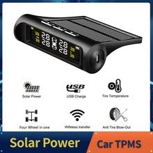 Điện năng lượng mặt trời Xe TPMS Hệ Thống Giám Sát Áp Suất Lốp MÀN HÌNH Hiển Thị LCD Kỹ Thuật Số Tự Động Báo Động An Ninh Công Cụ Không Dây 4 Cảm Biến Bên Ngoài
