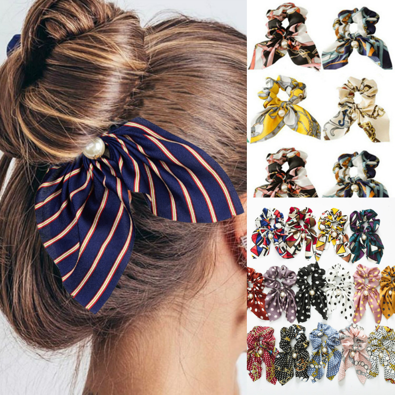 MINHIN New Chiffon Bowknot Silk Hair Scrunchies For Women Cute Pearl Ponytail Holder Hair Rope Rubber Bands Hair Accessories