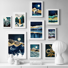 Mountain Sea Whale Moon Waterfall Abstract Nordic Posters And Prints Wall Art Canvas Painting Pictures For Kids Room Decor