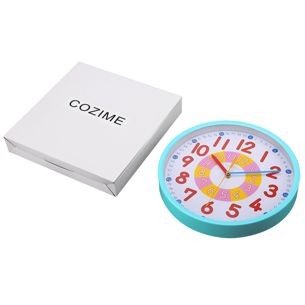 12 Inch Blue Metal Frame Decorative Round Colorful Lovely Wall Clock Silent Movement For Children To Learn For Teaching
