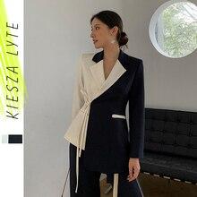 Vintage Women Tweed Suit Lace-up Blazer+Split Wide Leg pants Patchwork Ladies Tw