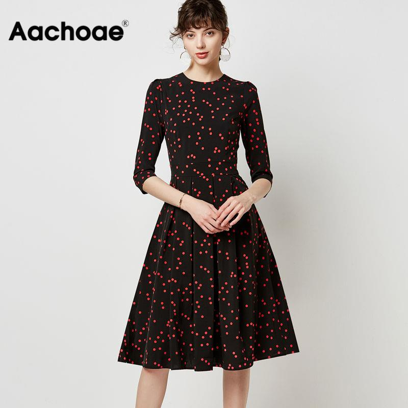 Elegant A-line Pleated Dress Women Vintage Dot Print Office Midi Dresses Autumn Casual O Neck Three Quarter Sleeve Tunic Robe