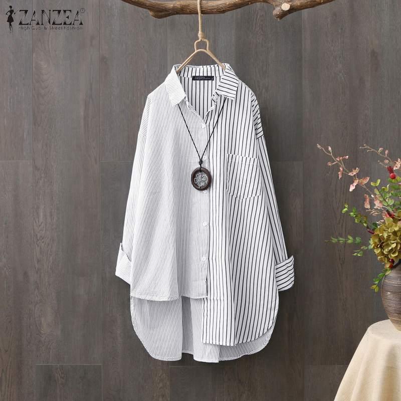Women's Asymmetrical Shirts ZANZEA 2020 Fashion Striped Tops Casual Long Sleeve Blusas Female Button Patchwork Tunic Oversized