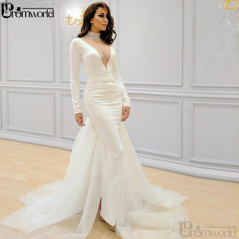 White Mermaid Muslim Evening Dresses 2020 High Collar Beaded Islamic Dubai Saudi Arabic Long Sleeves Formal Evening Prom Gowns