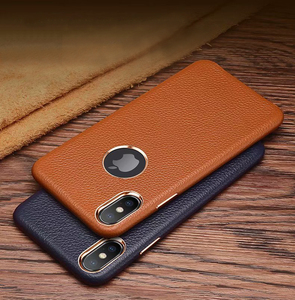 Real leather lychee texture phone back cover case for iPhone 7 8 Plus XR X Xs Max CKHB-19A cowhide metal button protective cases(China)