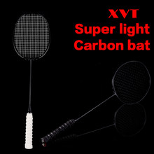 XVT 28-30lbs 4U Professional Black Carbon/ Whole Carbon Fiber Super Light Badminton Racket with handle Grip 2pcs/lot