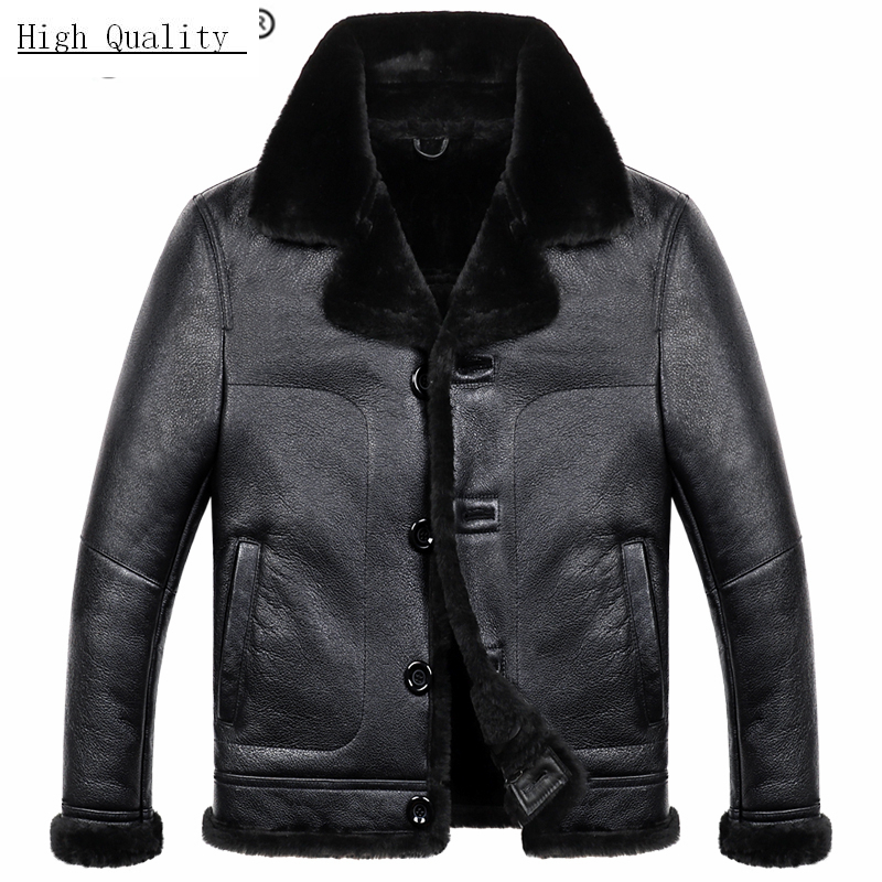 Genuine Leather Jacket Men Winter Sheep Shearling Coat 2020 Thick Warm Wool Liner Real Sheepskin Leather Coats Hiver M811