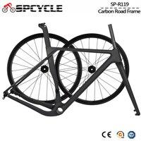 Spcycle エアロフルカーボン砂利フレームとホイールセット 700 * 40C ディスクブレーキロードシクロクフレームセットサイズ 49/52/54/56/59 センチメートル